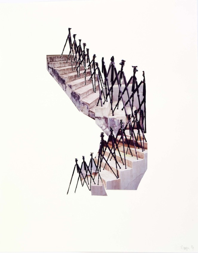 Albert Mayr, tripods decending a staircase, 70x50cm, photocollage on paper, 2014